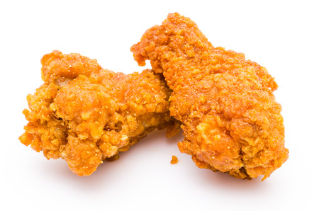 Spicy Fried chicken on white background photo