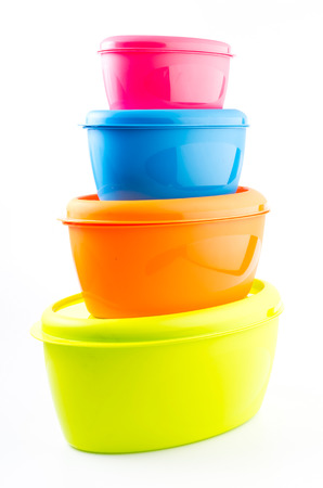 tupperware: Food plastic container on isolated white background Stock Photo