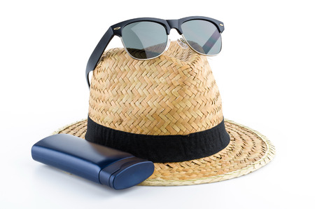 flip flops: Hat, sunglasses and body lotion isolated on white background Stock Photo