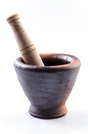 pestel: mortar pestle on isolated white background Stock Photo