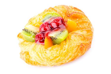 summer pudding: Fruit pie on white background
