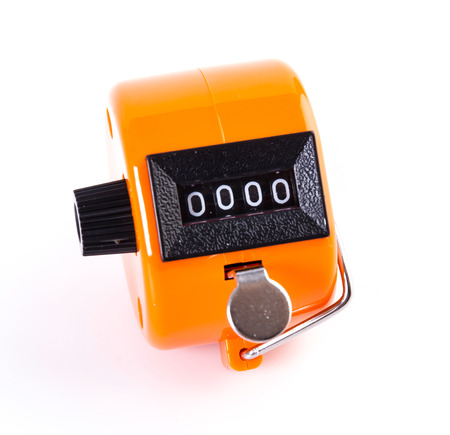 tally: Tally Counter on isolated white background Stock Photo