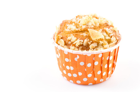 Banana muffin cupcake on isolated white background photo