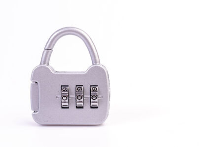 Padlock on isolated white background photo