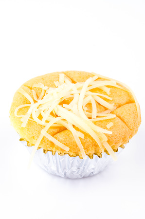 Cheese cupcake on white background photo