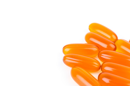 Soft pills on white background photo
