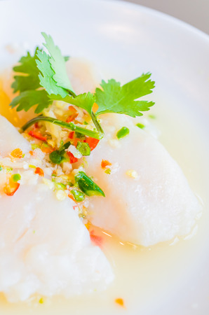 Steamed fish with lemon photo