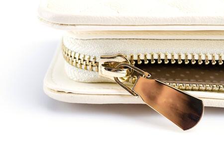 Close up gold zip wallet photo