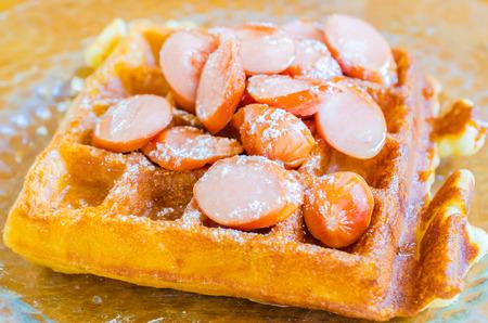 Pancake waffle Sausage photo