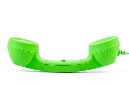 telecommunicate: Green telephone on isolated white