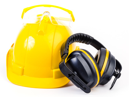 construction safety: Safety equipment on isolated white  Stock Photo