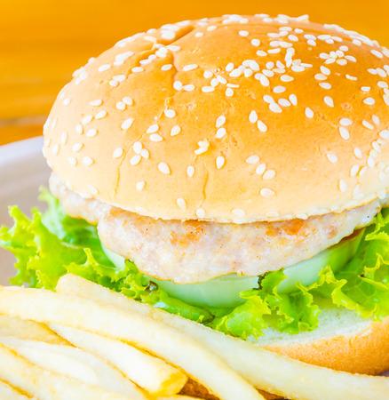 Hamburger and french fries , fast food photo