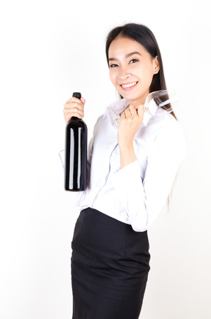 Women and bottle wine and wine glass photo