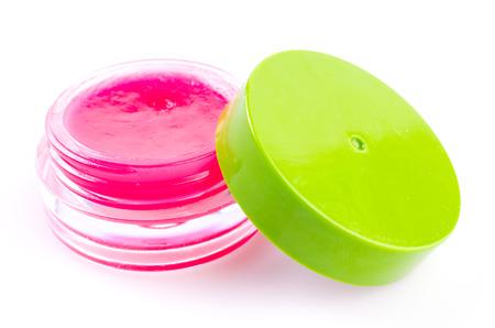 Lip balm on isolated white background photo