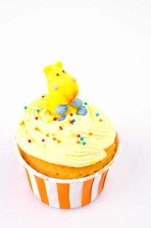 Cupcake on isolated white background photo