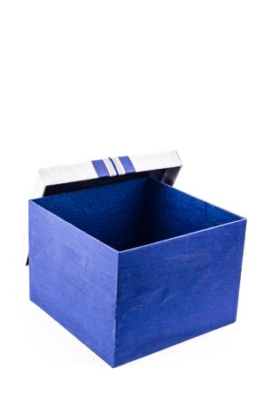 Blue gift box on white background photo