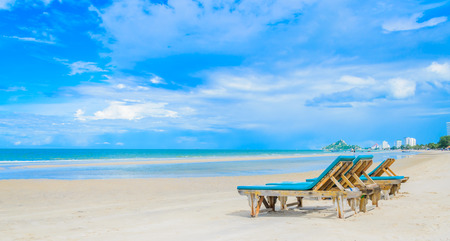 Bed on the beautiful beach on the bluesky in Thailand photo