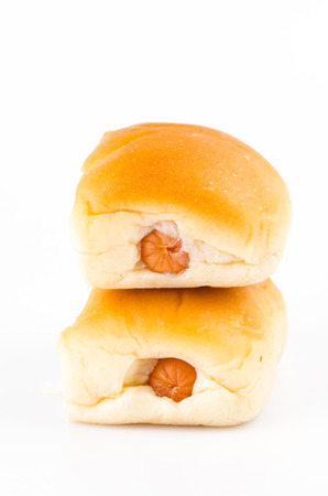Sausage bread on isolated white background photo