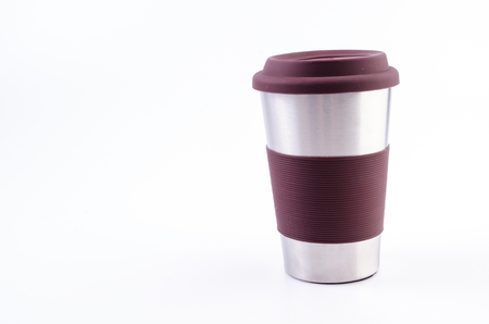 thermo: Stainless thermo coffee mug cup on isolated white background Stock Photo