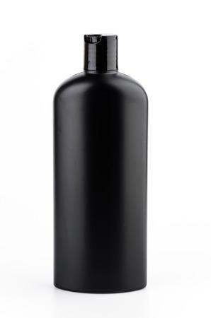 plastic bottle: black plastic bottle lotion isolated white background