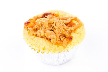 Cupcake Dried shredded pork on white background photo