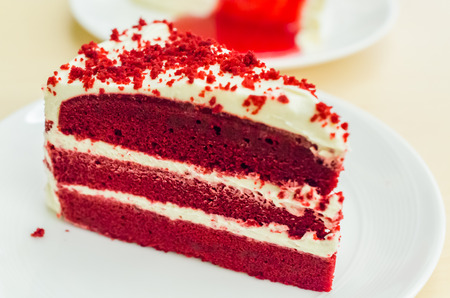Velvet red cake Stock Photo