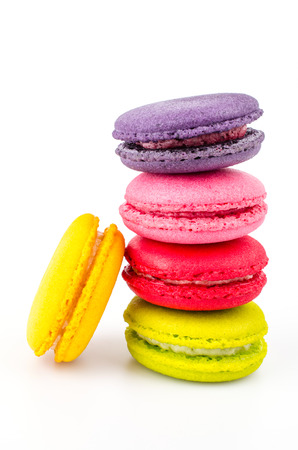 Color ful macaroon on white background Imagens