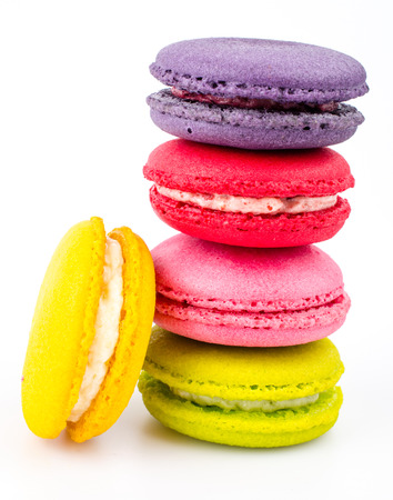 Color ful macaroon on white background photo