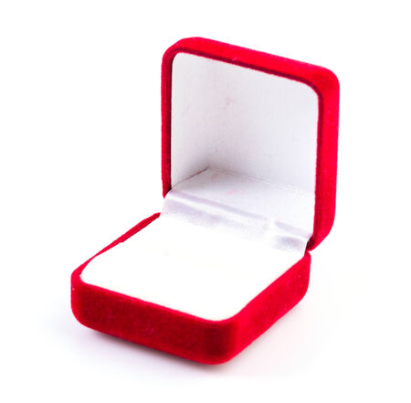Jewelry red box on isolated white background photo
