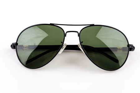 sunglasses reflection: Sunglasses isolated white background Stock Photo