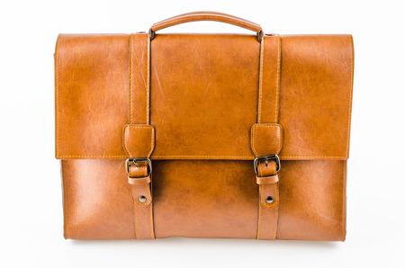 Leather bag isolated on white background photo