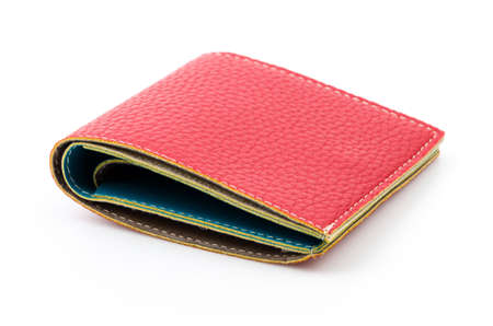 red leather wallet isolated white background photo