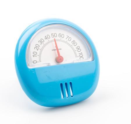 pluviometro: Higrómetro aislado fondo blanco Foto de archivo