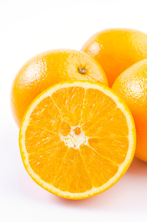 Orange fruit on isolated white background