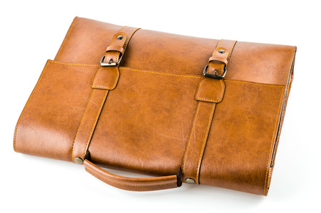 Leather bag isolated on white background photo