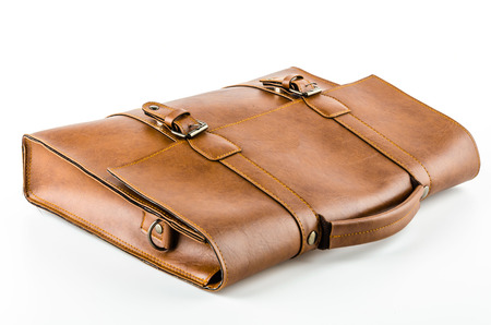 Leather bag isolated on white background Фото со стока