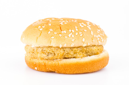 Chicken hamburger on white background photo