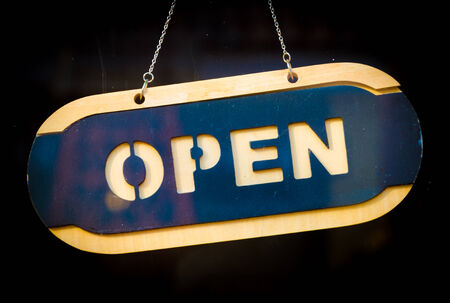 Open sign process old vintage style picture Stock Photo - 26357287
