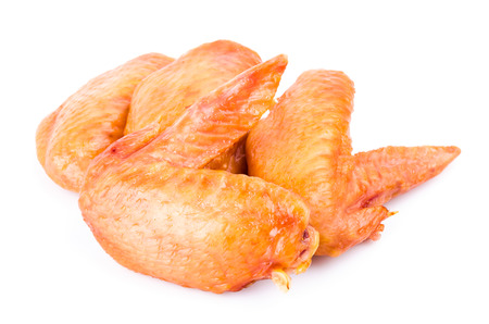 Smoked chicken wings on white background Stock Photo - 26570255