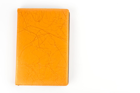 Leather notebook isolated white background photo