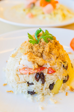 Pineapple Fried Rice in dish , thai food style photo