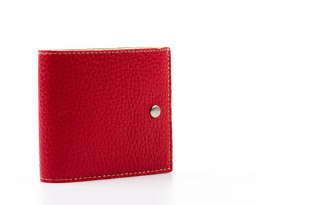 red leather wallet isolated white background Banco de Imagens