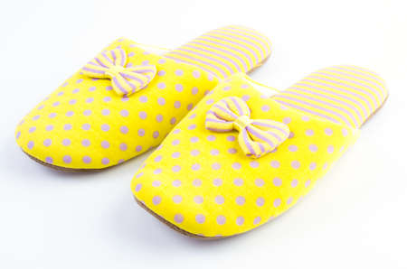 yellow house: Yellow house slippers isolated on white background