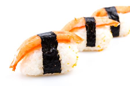 japanese cookery: Sushi crabs on white background Stock Photo