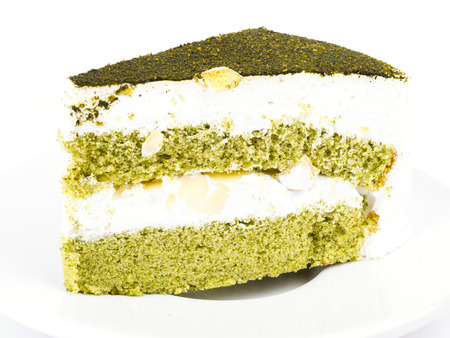 Green tea cake on white  photo