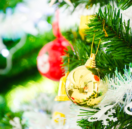Decorate Christmas tree using as background Stock Photo - 27191254