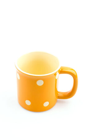 Yellow mug isolated white background photo