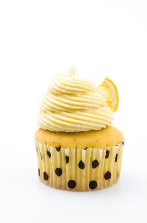 cupcakes isolated: Lemon cupcakes isolated white background Stock Photo