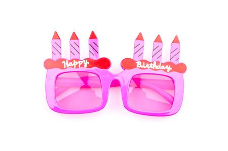 Happy birthday sunglasses isolated white background photo