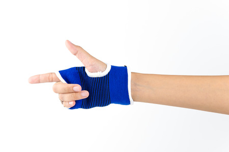 splint: Fondo blanco aislado mu�eca f�rula de mano